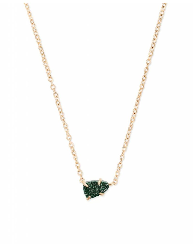 Kendra Scott Helga Necklace Gold Emerald Drusy