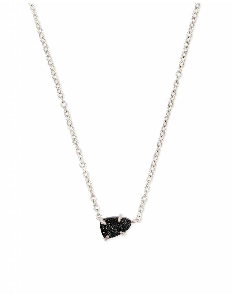Kendra Scott Helga Necklace Silver Black Drusy