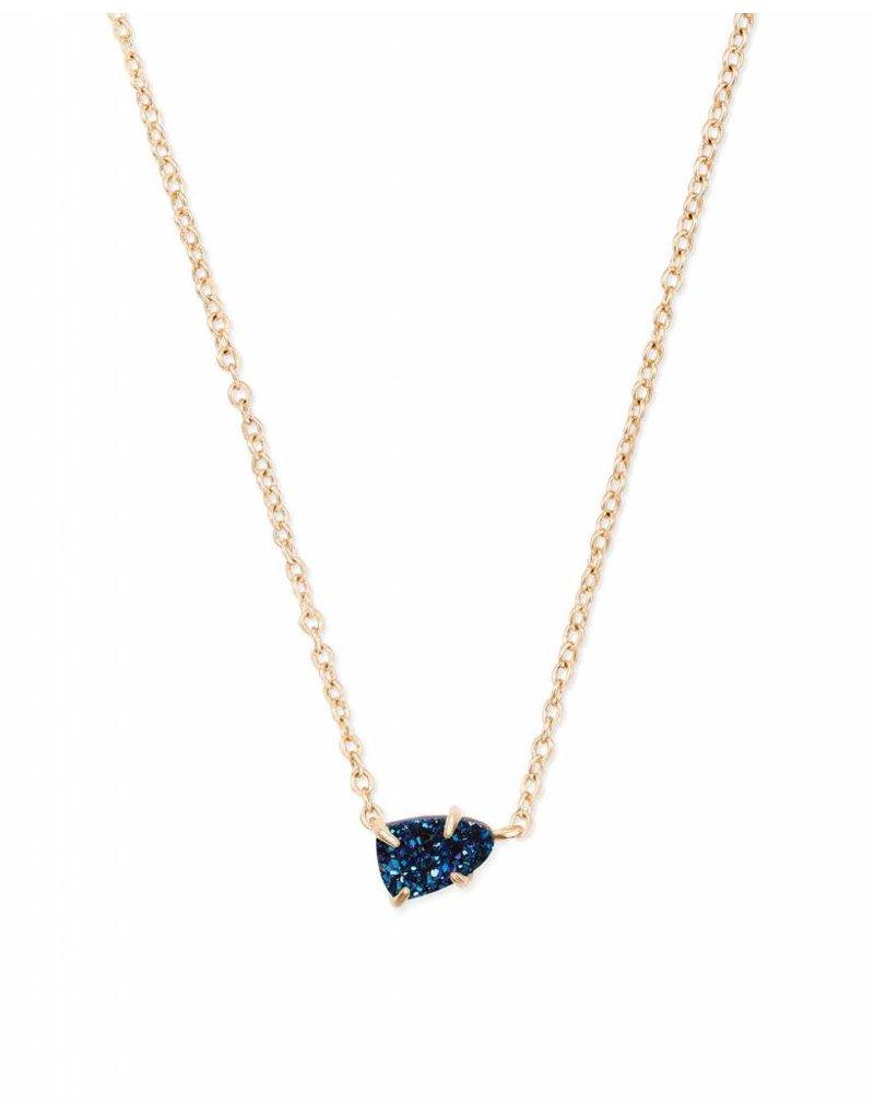 Kendra Scott Helga Necklace Gold Blue Drusy