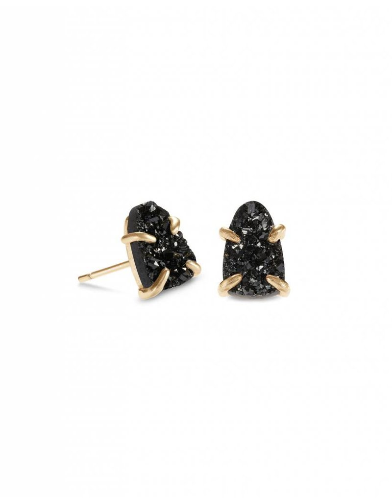 Kendra Scott Harriett Earring Gold Black Drusy