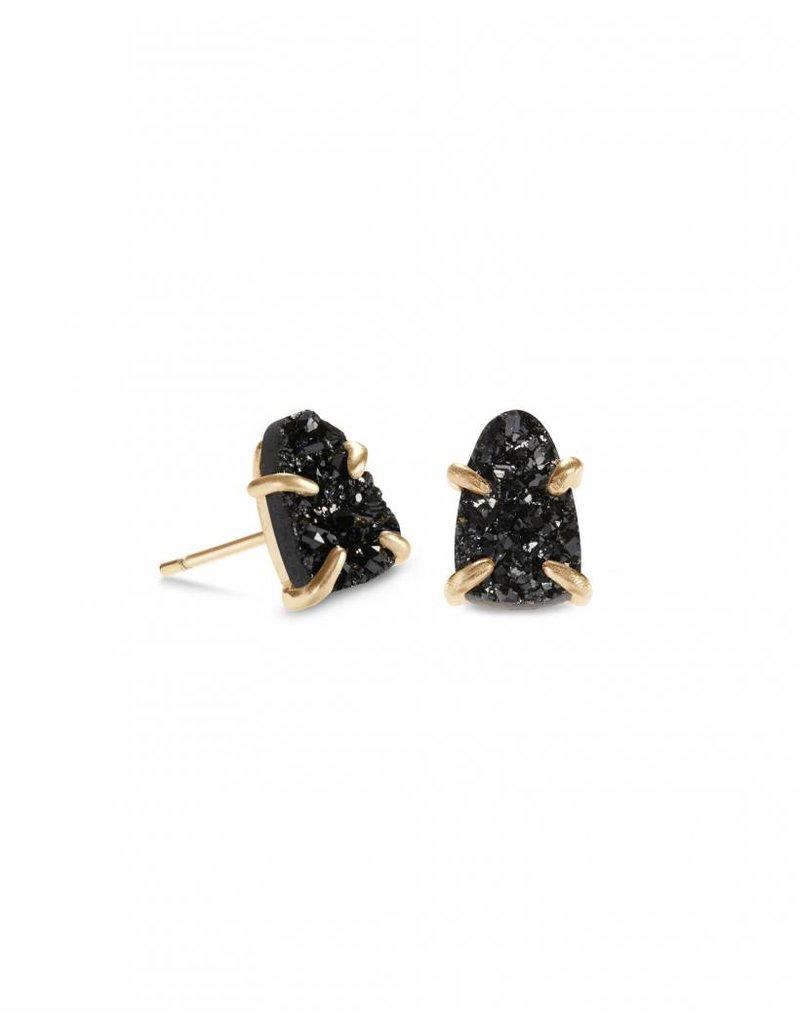 Kendra Scott Harriett Earring Gold Black Drusy