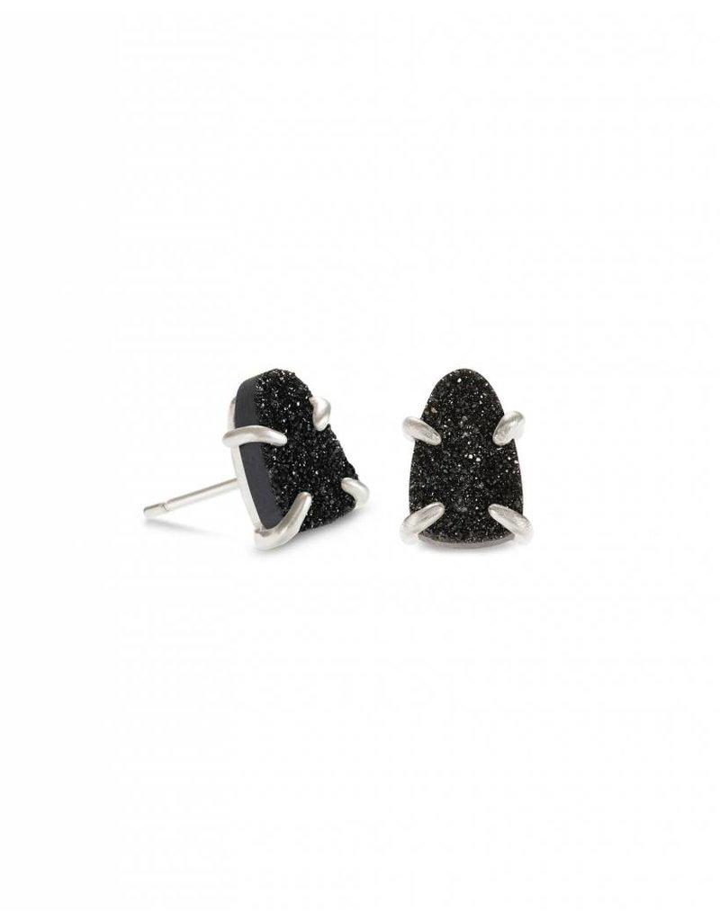 Kendra Scott Harriett Earring Silver Black Drusy