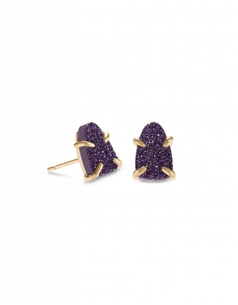 Kendra Scott Harriett Earring Gold Purple Drusy