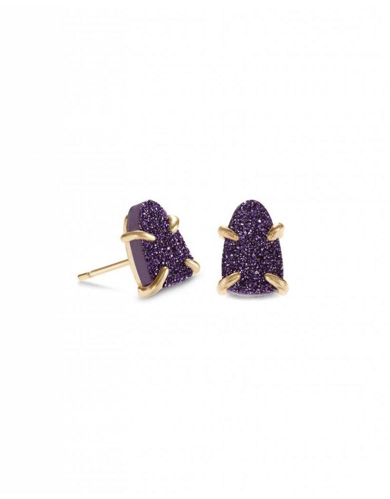 Kendra Scott Harriett Earring Gold Purple Drusy