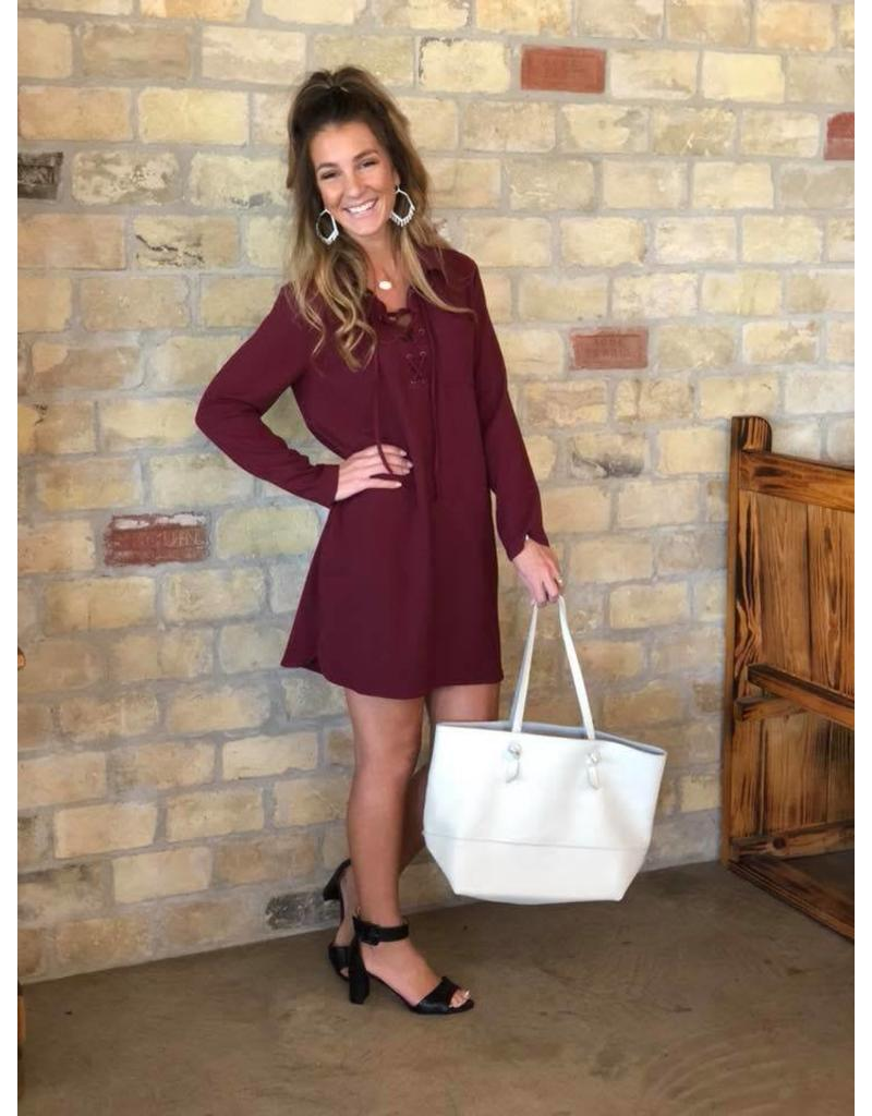 Lace-Up Dress in Burgundy