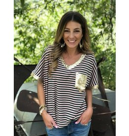 Sequin Detail Stripe Grn/Pink Top