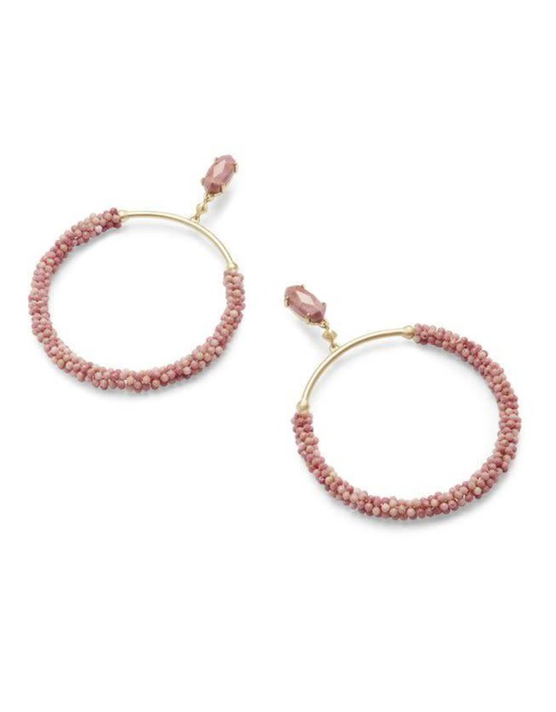 Kendra Scott Russel Earrings in Gold PInk Rhodonite
