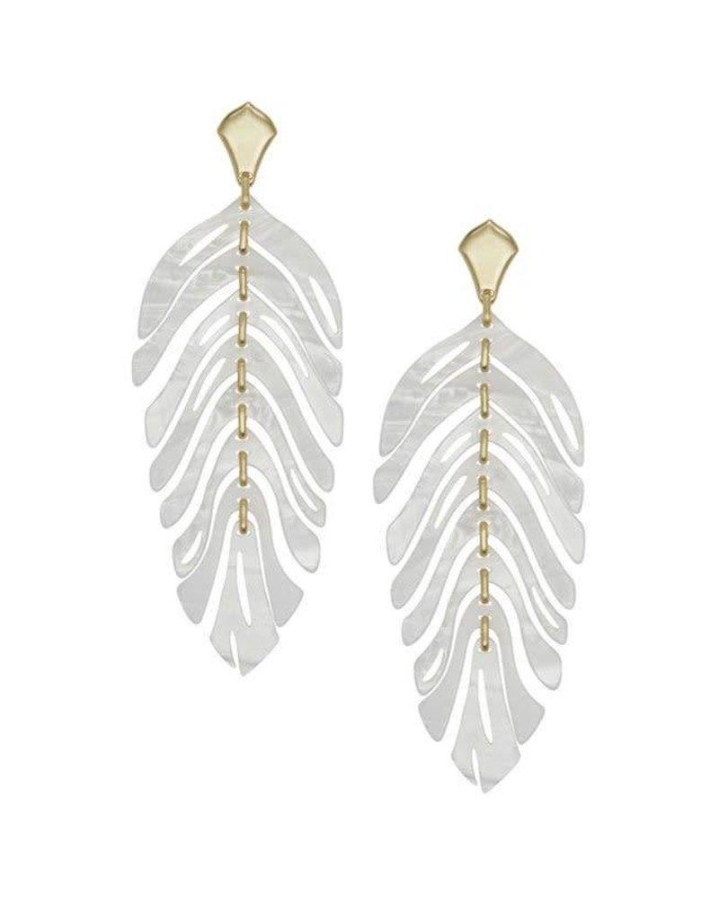 Kendra Scott Lotus Earrings in Gold Ivory Marble