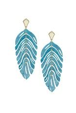 Kendra Scott Lotus Earrings in Gold Teal Marble