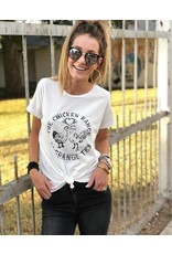 Chicken Ranch T Shirt in White with Black Print