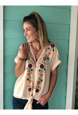 Embroidered Floral Top in Taupe