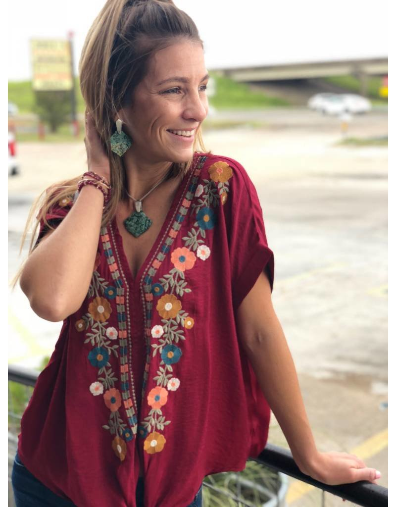Embroidered Floral Top in Burgundy