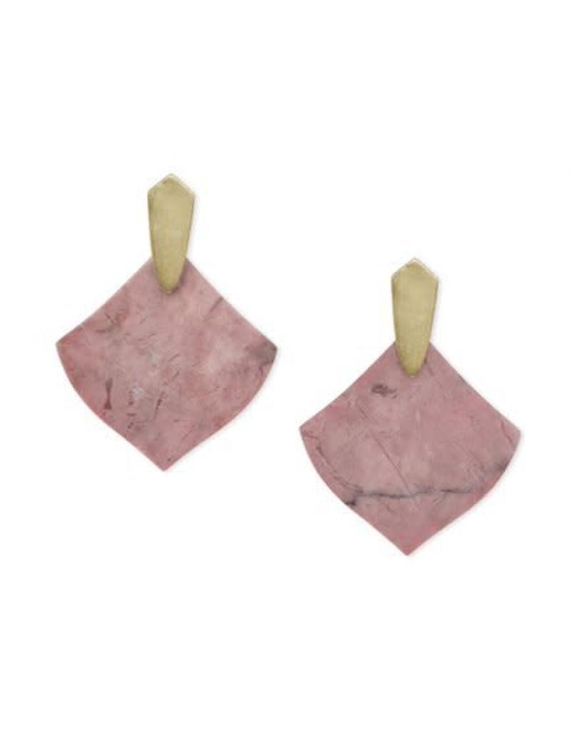 Kendra Scott Astoria Earrings in Gold Pink Rhodonite