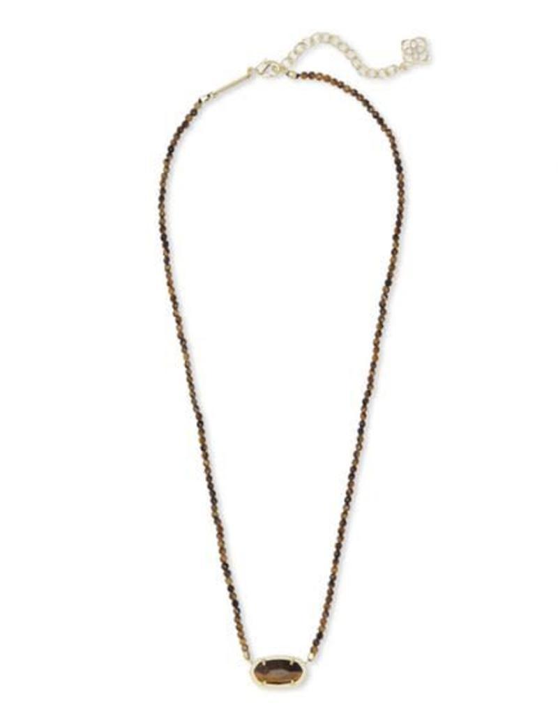 Kendra Scott Elisa Beaded Necklace in Gold Brown Tiger's Eye
