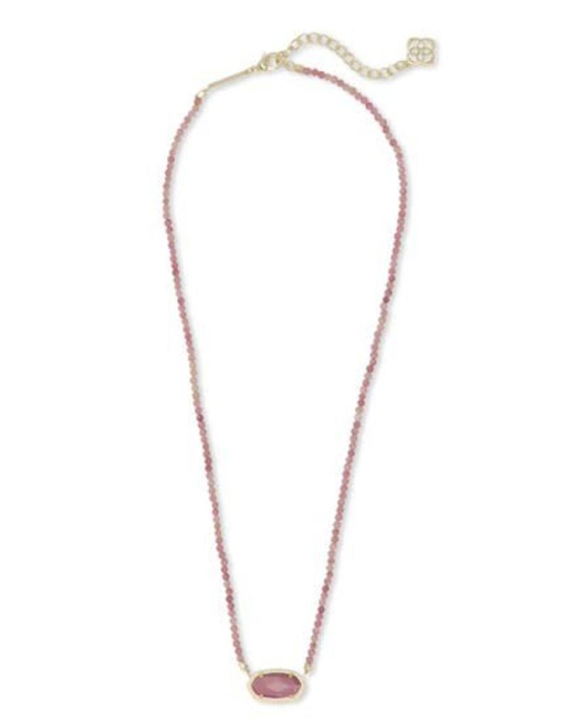 Kendra Scott Elisa Beaded Necklace in Gold Pink Unbanded Rhodonite