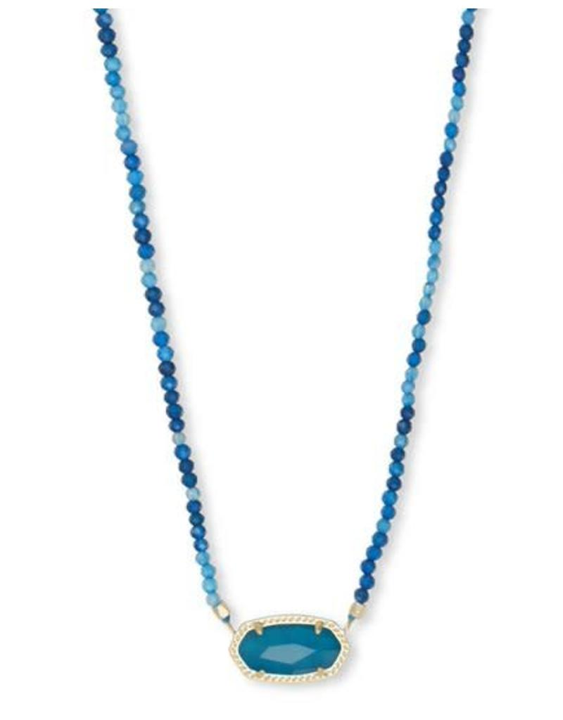 Kendra Scott Elisa Beaded Necklace in Teal Unbanded Agate on Gold