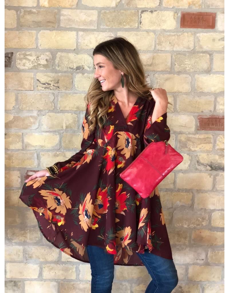 Floral Long Sleeve V-Neck Dress - Wine