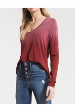 Z Supply Ombre L/S V-Neck Tee in Deep Red