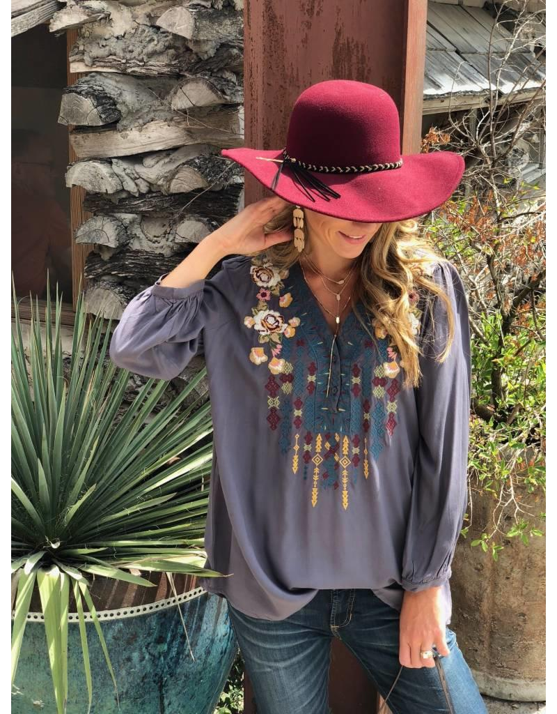 Dark Grey Embroidered Top w/ White/Maroon Flowers