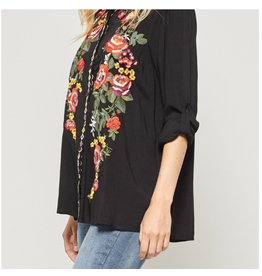 Black Embroidered Top Plus