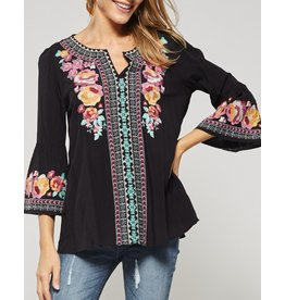 Black Embroidered Top W/ Pink Flowers + Top