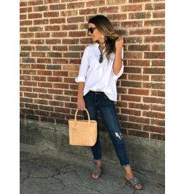 Stretch popline 3/4 sleeve Blouse - White
