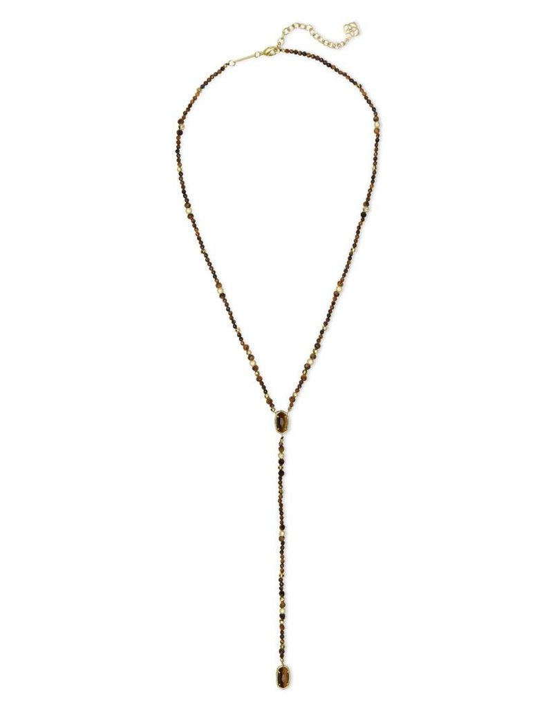 Kendra Scott Bethany Necklace in Gold Brown Tiger's Eye