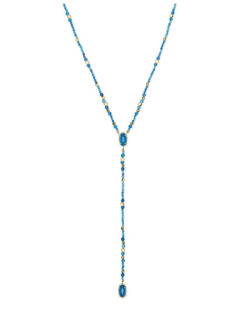 Kendra Scott Bethany Necklace in Gold Teal Unbanded Agate