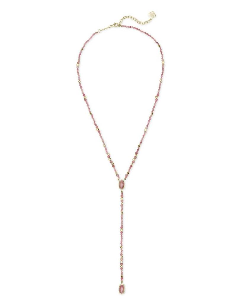 Kendra Scott Bethany Necklace in Gold Pink Rhodonite