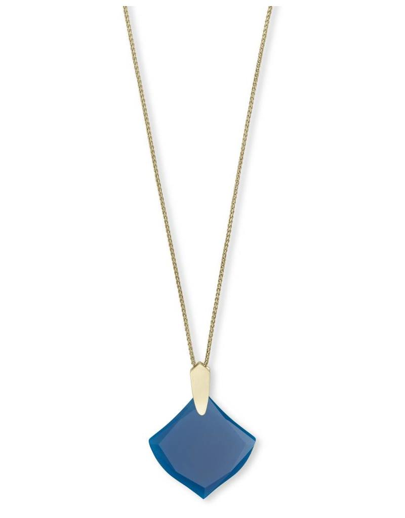 Kendra Scott Aislinn Necklace in Gold Teal Unbanded Agate