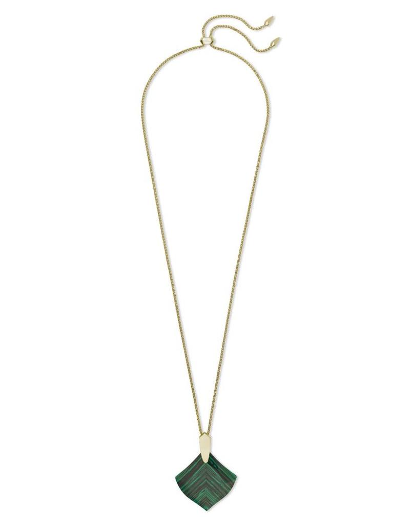 Kendra Scott Aislinn Necklace in Gold Green Calsilica