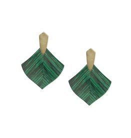 Kendra Scott Astoria Earrings in Gold Green Calsilica