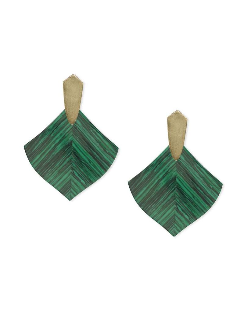 Kendra Scott Astoria Earrings in Gold Green Calsilica