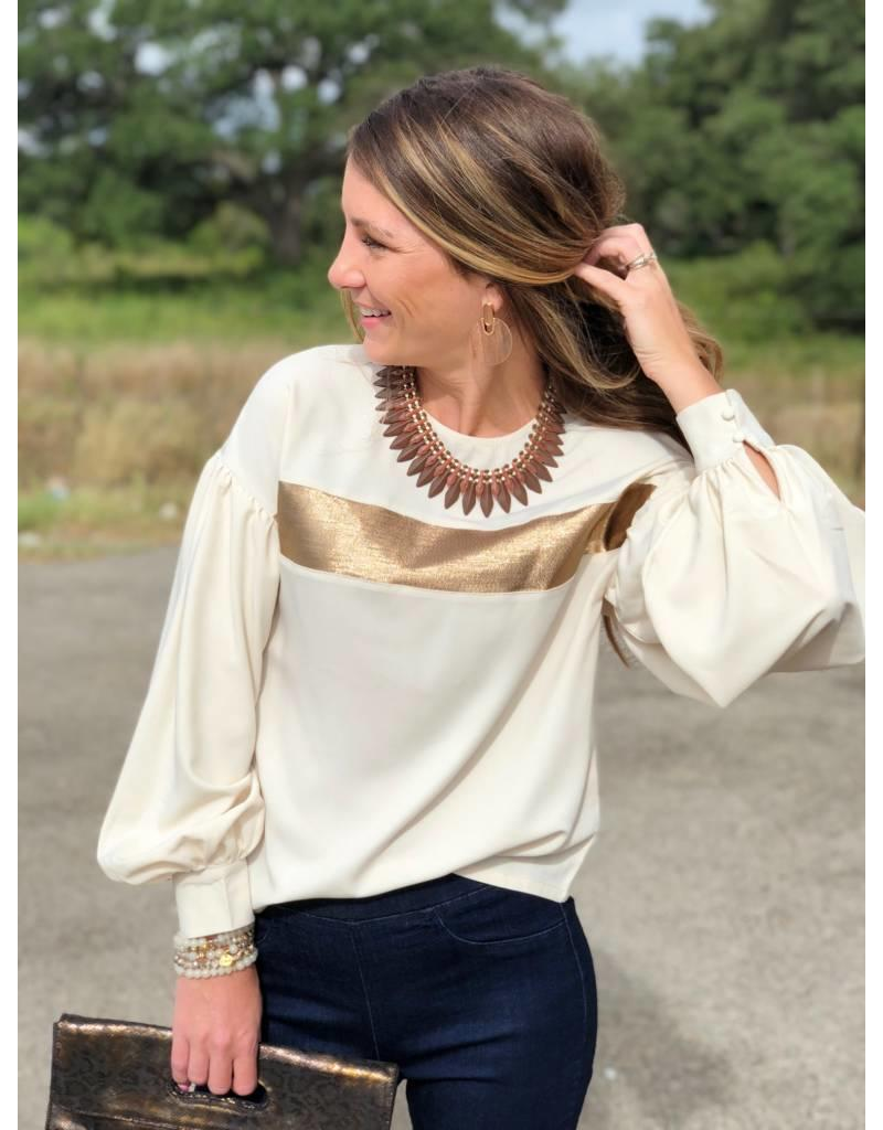 Cream w/Gold Band Blouse