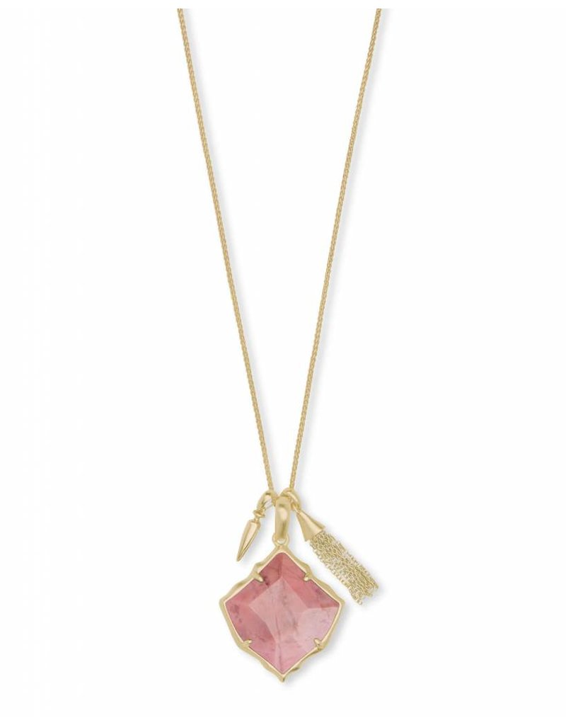 Kendra Scott Arlet Necklace in Gold Pink Rhodonite