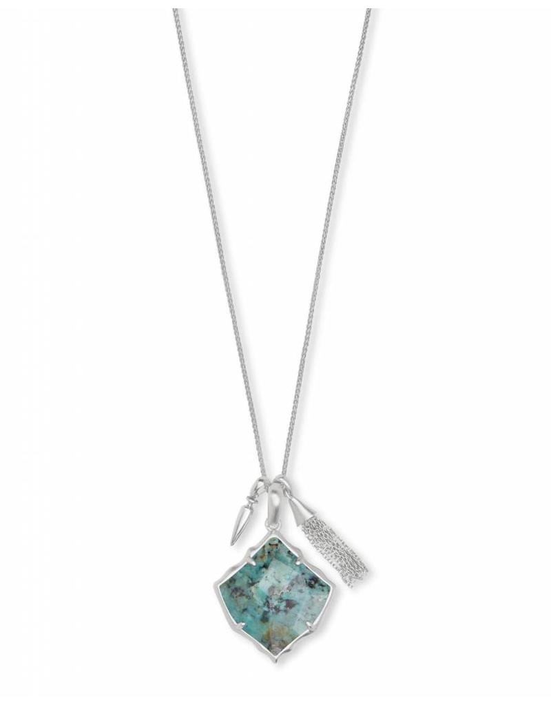 Kendra Scott Arlet Necklace in Silver African Turquoise