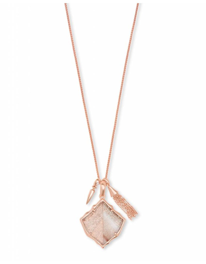 Kendra Scott Arlet Necklace in Rose Gold Dusted Glass