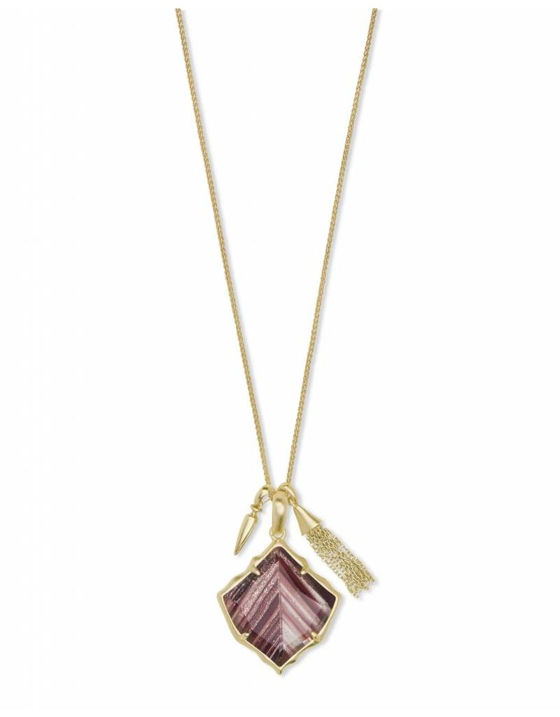 Kendra Scott Arlet Necklace in Gold Brown Dusted Glass