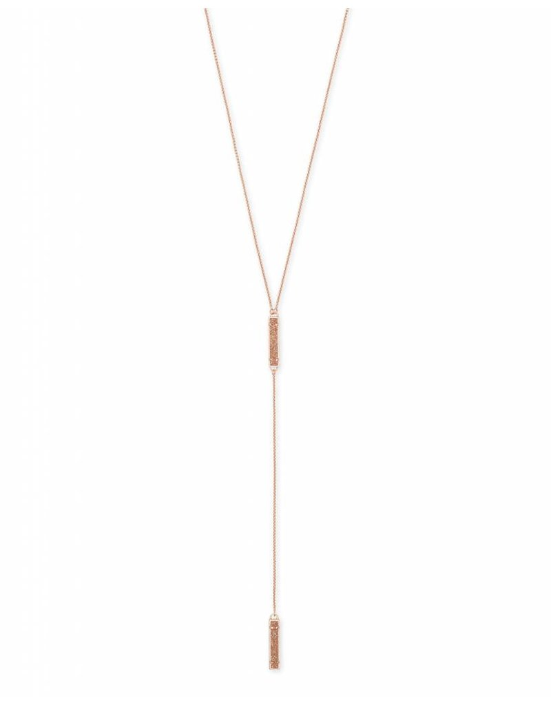 Kendra Scott Lilly Necklace Rose Gold Sand Drusy
