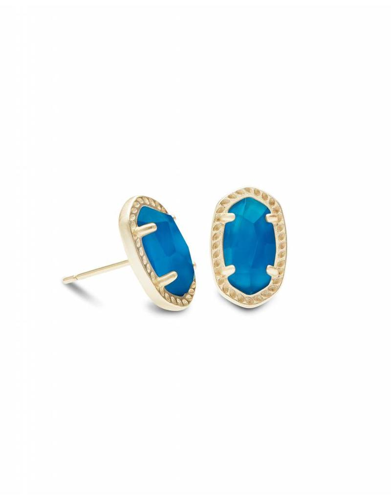 Kendra Scott Emery Studs in Gold Teal Unbanded Agate