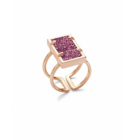 Kendra Scott Lennox Ring Rose Gold Fuchsia Drusy M/L
