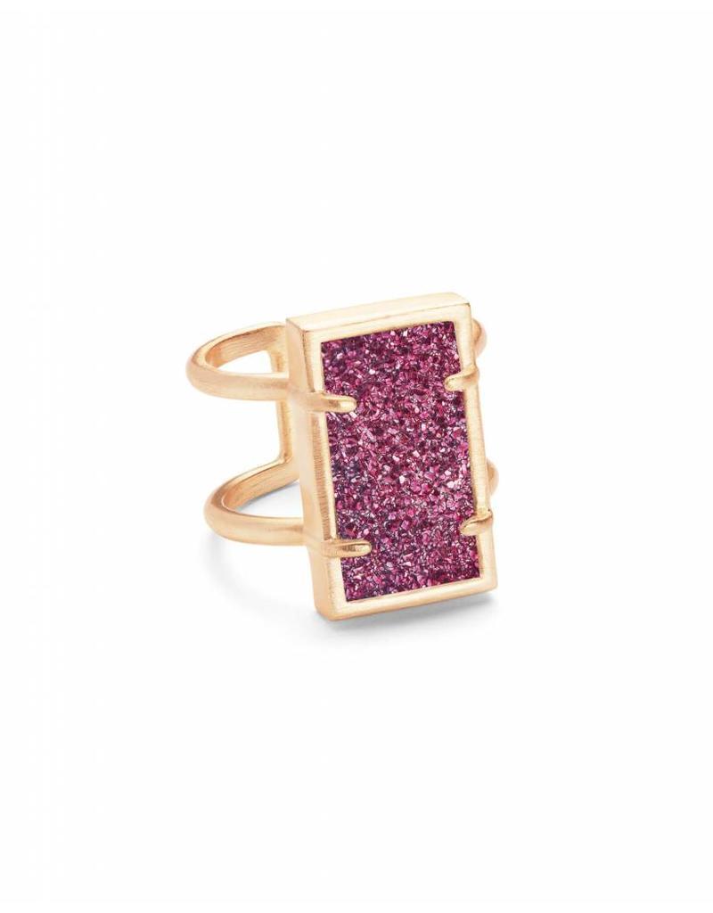 Kendra Scott Lennox Ring Rose Gold Fuchsia Drusy M/L