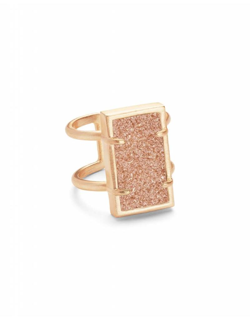 Kendra Scott Lennox Ring Rose Gold Sand Drusy M/L