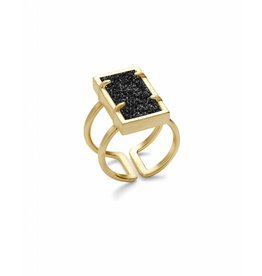 Kendra Scott Lennox Ring Gold Black Drusy S/M