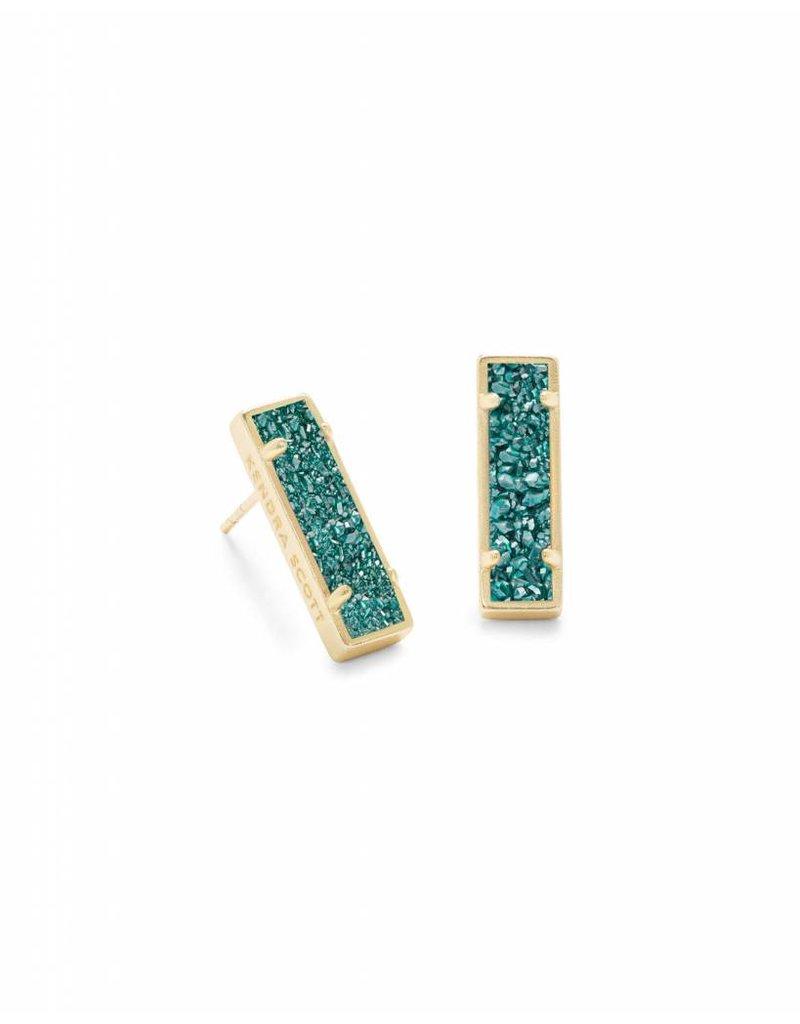 Kendra Scott Lady Earrings in Aqua Drusy on Gold