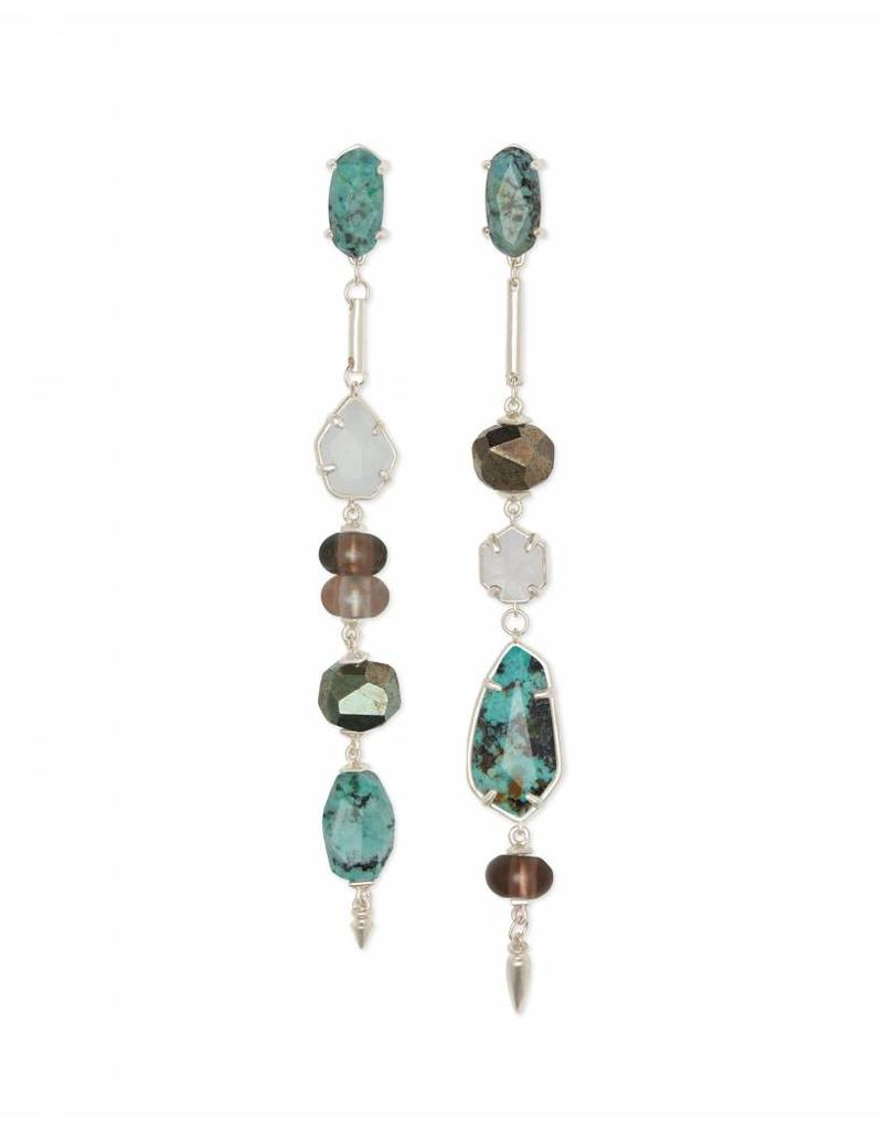 Kendra Scott Cosette Earrings in Silver Turquoise Mix