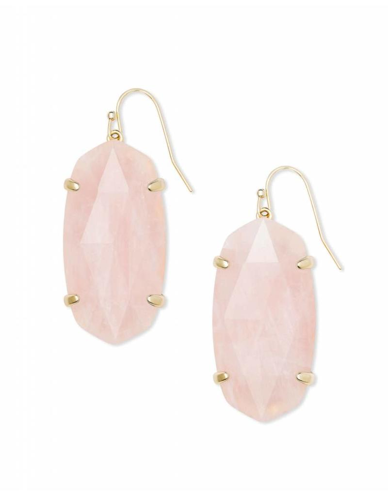 Kendra Scott Esme Earrings in Rose Quartz on Gold