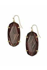 Kendra Scott Esme Earrings in Gold Brown Dusted Glass