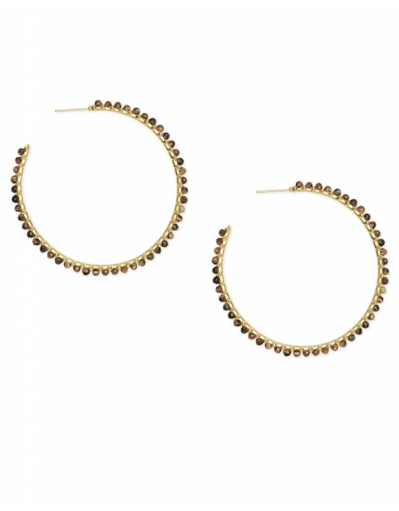 Kendra Scott Birdie Earring Gold Brown Tigers Eye
