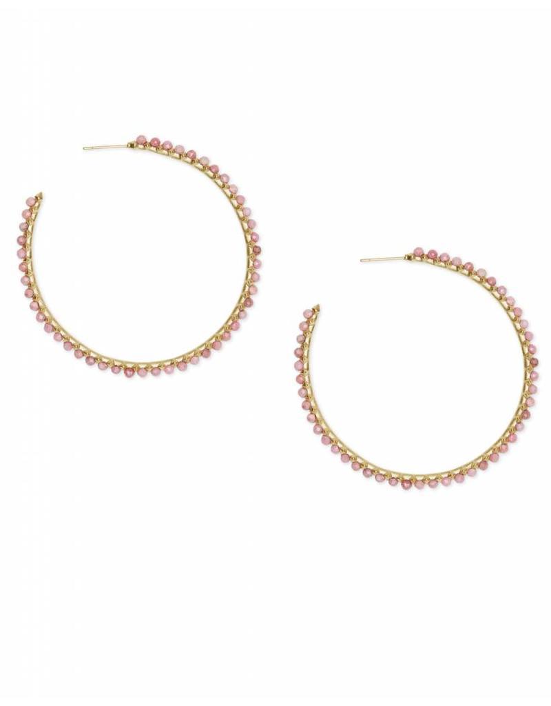 Kendra Scott Birdie Earring Gold Pink Unbanded Rhodonite